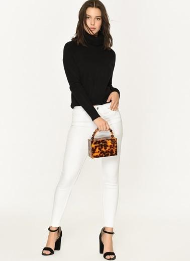 Loves You Likralı Slim Fit Yüksek Bel Jean Pantolon Beyaz
